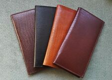 Mens Womens LIZARD Reptile PATTERN REAL Leather Black Tan Checkbook Cover Wallet