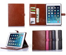 Luxury Folio Wallet Leather Stand Smart Card Case Cover For Apple iPad