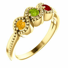 10K or 14K Solid Gold Round Birthstones Ring Mother, Family Ring 1-5 Stones