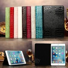 New Folio Cool Crocodile Stand PU Leather Smart Case Cover For Apple iPad Model