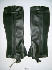 HALF CHAPS HORSE RIDING SYNTHECTIC LEATHER BLACK - SMALL, MEDIUM, LARGE & X-LARG