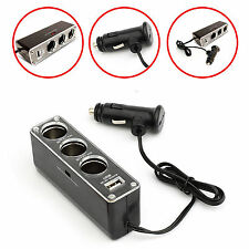 CAR CHARGER SPLITER W/3 CIGARETTE SOCKET & ONE USB PORT FOR LATEST MOBILE PHONES