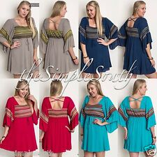 UMGEE Bell Sleeve Stripe Empire Waist BabyDoll Tunic Top Criss-Cross Back Dress