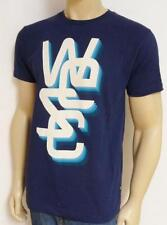 WESC 3-D Overlay Graphic Tee Mens Navy Blue 100% Cotton T-Shirt New NWT