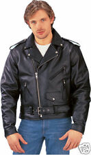 Unik Mens Black Leather Traditional Classic Scooter Biker Jacket