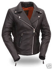 FMC Womens Black Leather Hourglass Motorcycle Scooter Jacket