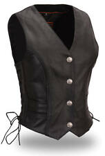 FMC Womens Black Leather Braided Buffalo Nickel Head Snaps Biker Vest
