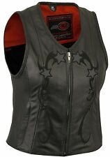 FMC Womens Black Leather Biker Motorcycle Zip Front Vest with Reflective Stars