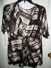 APT 9 BLACK BROWN GRAY CREAM KNOT FRONT SPLATTER TUNIC KNIT BLOUSE 0X 1X 2X