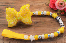 Personalised Stunning yellow sparkle bow Dummy Clip Chain reborn doll