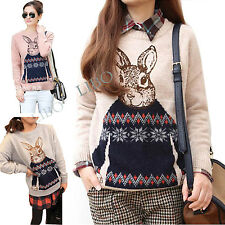 Women Girls Casual Christmas Rabbit Pullover Knitwear Round Neck Plaited Sweater