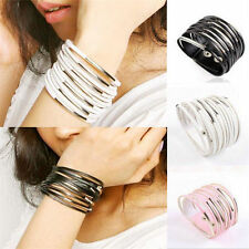 Unisex Womens Jewelry Multilayer Cuff Bangle Gothic Punk Chain Leather Bracelet