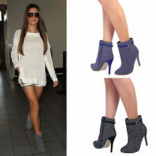 Womens Ladies New Stiletto Mid High Heel Ankle Boots Zip Up Pointed Toe Size