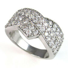 Elegant Crystals Crossover 18K White Gold GP Wedding Engagement Finger Band Ring
