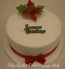 Christmas Spray Red/Gold/Green Motto and ribbon Cake Topper Decoration Packs