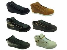Ladies Girls Hi Low Top Trainers Pumps Lace Up Plimsoll Flat Urban Skater Shoes