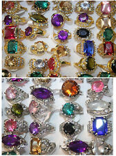Wholesale Lots 10/20pcs Crystal Rhinestone Big zirconia women's Multicolor Rings