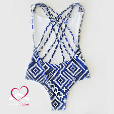 New Reversible One piece bikini Sexy Low Back 2in1 White&Blue Print Crossover