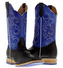 men's black blue western leather cowboy boots rodeo riding two tone square toe