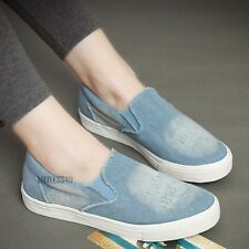 Women Ladies Rip Denim Canvas Shoes Pump Plimsoll Slip On Casual Sneaker Antique
