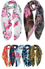Womens Ladies Spiral Flower Print Large Soft Long Scarf shawl stole Neck Wrap