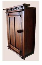 Custom Handcrafted Rustic Mission Victorian Southwest  Wood Wall Mount Cabinet
