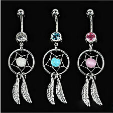 Crystal Gem Dream Catcher Navel Dangle Belly Barbell Bar Ring Body Jewelry w21