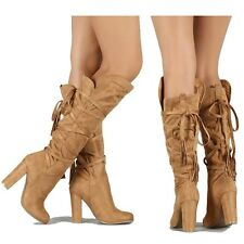 Wild Diva Camel Suede Knee High Boots Chunky Heel Pull on Women's shoes Emilia