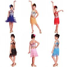 Fashion Kids Girls Sequined Latin Dance Dress Child Dancing Dress Costume 6-12Y