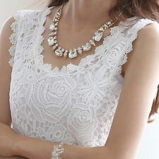 Fashion New  Ladies Lace Vest Camisole Blouse Tee Tops Sleeveless T-shirt Hots