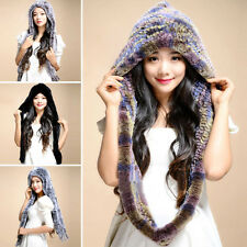 100% Real Genuine Knitted Rabbit Fur Hat Scarf Cap Hooded Winter Warm Long Lady