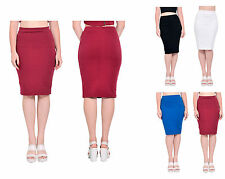 MARYCRAFTS WOMENS RIBBED STRETCHY KNEE MIDI BODYCON SLIM FIT PENCIL SKIRTS