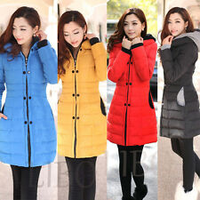Winter Women's Slim Fit Padded Coat Hooded Long Quilted Jacket Parka Overcoat