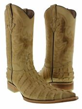 mens sand beige crocodile exotic tail western leather cowboy boots pointed