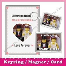 Personalised LEGO Wedding Congratulations Magnet Keyring Greeting Card Love Gift
