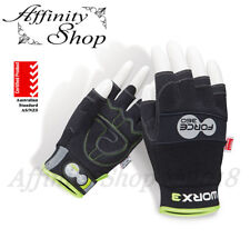3x Force360 Fingerless Work Gloves Mechanic Style Hand Protection Any Size NEW