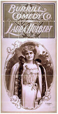 Photo Printed Old Poster: Stage Theatre Flyer Burrill Comedy Co Laura Hulbert 01