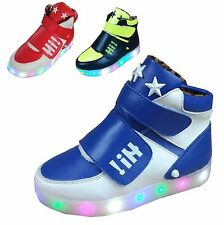 Kid Boy LED Light Up High Top Sneaker athletic leather Shoe breathabe