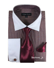 Men's Striped Formal Dress Shirt w/ French Cuff Links,Tie and Hanky #17