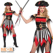 Pirate Beauty + Hat Ladies Fancy Dress Womens Pirates Adult Movie Costume Outfit