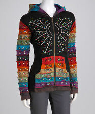 Rising International Rainbow Patchwork S, M, L Hippie Boho Hoodie Hooded Jacket