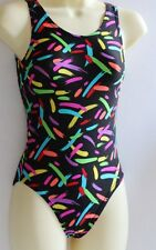 Leotard Black with Multi Colour Splashes KIDS 4,6,8,10,1​2,14 Dance Gym Cal