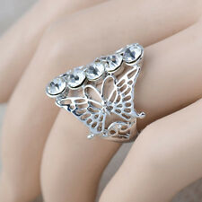 18K White Gold Plated Butterflies Crystals Fashion Ring Jewelry CZ Rhinestone