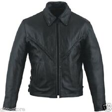 """NEW Leather King Ladies Black Braided Leather Jacket size X-Small 32"""" Chest"""
