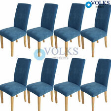 Home Super Fit Stretch Short Dining Room Chair Covers Slip Cover Protector Blue