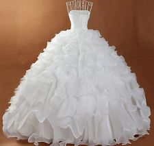 Ruffled White Ivory Wedding Dress Bridal Gown Custom Size 6/8/10/12/14/16/18/20+
