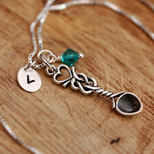 926 Sterling Silver Personalised Dessert Lover Love Spoon Necklace w Birthstone