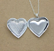New Fashion Women Silver Plated Filled Heart Locket Photo Charm Pendant Necklace