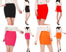 Sexy Rib Bandage Mini Skirt Slim Stretch Bodycon Black Red Hot Pink Orange Party