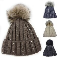 Magda Knit beanie, Hat with Pompom, Knitted cap Glitter effect Pompom hat 333